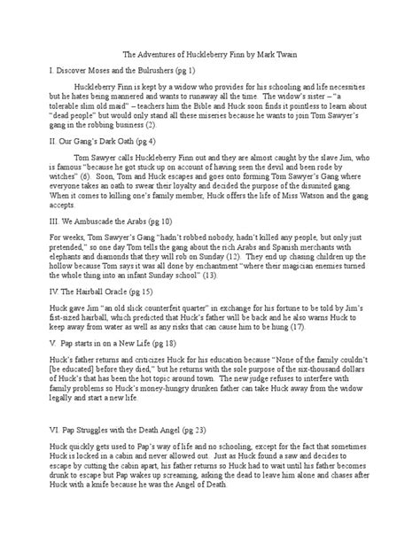 Huckleberry Finn Chapter by Chapter Summary | Adventures