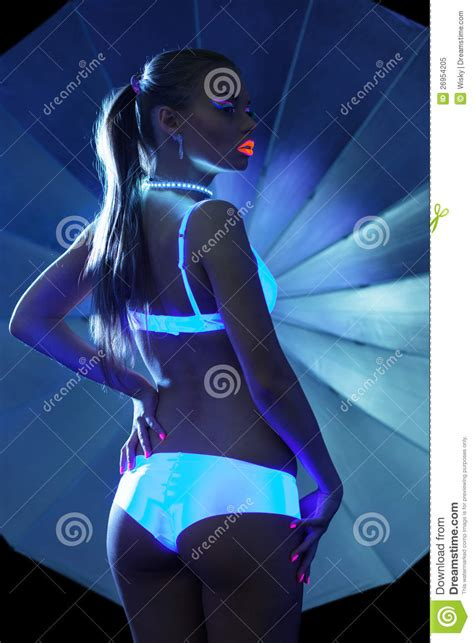 Beauty Girl With Ultraviolet Make-up In Sexy Dance Royalty